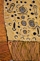 'Untitled (detail from Kiwirrkurra women's painting)' tapestry, 2007, Nanyuma Napangati with assistance from Polly Brown Nangala, woven by Mala Anthony, Milena Paplinska and Cheryl Thornton, wool, cotton,3.05 x 1.98m. Collection: Embassy Tapestry Collection. Currently on loan to the Australian High Commission, India.