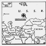 A map from 1961 showing the location of the Semipalatinsk test site.