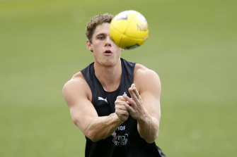 Charlie Curnow at the first day of Carlton's pre-season training.