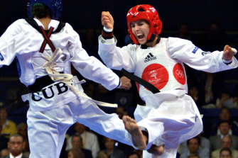 Lauren Burns during the gold medal taekwondo bout.