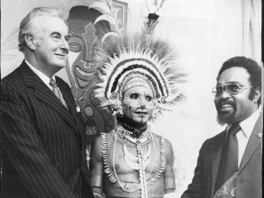 Australian Prime Minister Gough Whitlam and Chief Minister of Papua New Guinea Michael Somare attended the opening of Papua New Guinea House in Clarence Street on July 26, 1974.