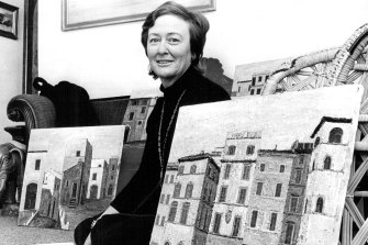 Janet Venn-Brown and some of her early paintings, in August 1972.