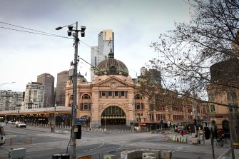 Peak hour at Flinders Street station on the first day of lockdown.