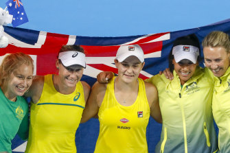 Australia's Fed Cup team, from left, Daria Gavrilova, Sam Stosur, Ashleigh Barty, Priscilla Hon and Alicia Molik.