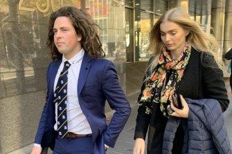 Callum Buczak and girlfriend Alexandra McDonough outside Melbourne Magistrates Court last year.
