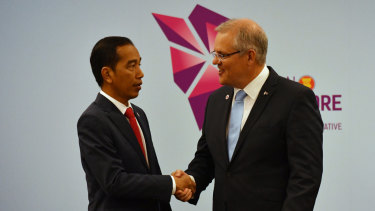 Prime Minister Scott Morrison and Joko Widodo at a bilateral meeting during the 2018 ASEAN Summit in Singapore.