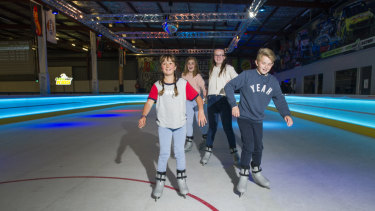 Madison Hooper, Chloe Carpenter, Jessica Element and Riley Element try Australia's first synthetic ice rink, iSkate Park.
