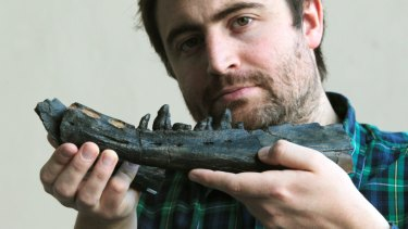 Dr. Erich Fitzgerald holds a 25 million-year-old whale jawbone specimen.