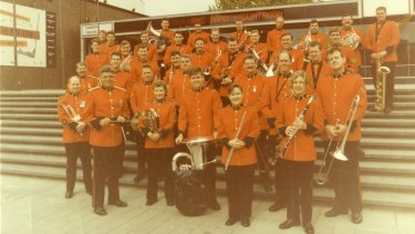 The 1994 RMC Band outside the Canberra Theatre Centre. Ian McLean is at the front left with baton.