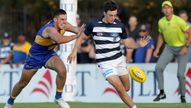 Geelong draft pick Jordan Clark impresses with 21 disposals and five marks against West Coast.