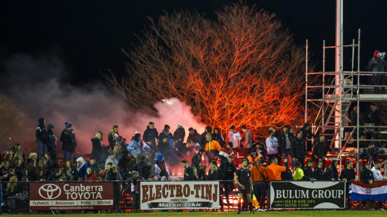 Canberra FC got the title and might get a bit more after this flare was lit in the second half.