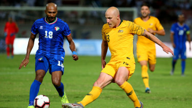 On the ball: Aaron Mooy showed his class against Kuwait.