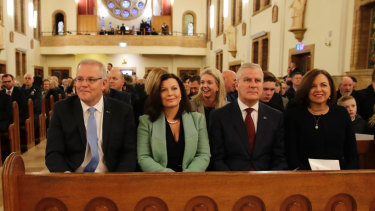 Prime Minister Scott Morrison at church service ahead of the first day in Parliament since the election.