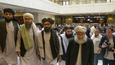 Mullah Abdul Ghani Baradar, the Taliban group's top political leader, third from left in Moscow in May.
