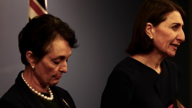 NSW Premier Gladys Berejiklian, right, stands beside Ms Goward as she announces her decision to quit.