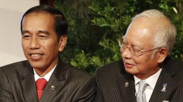 Indonesian president Joko Widodo and Malaysian Prime Minister Najib Razak.