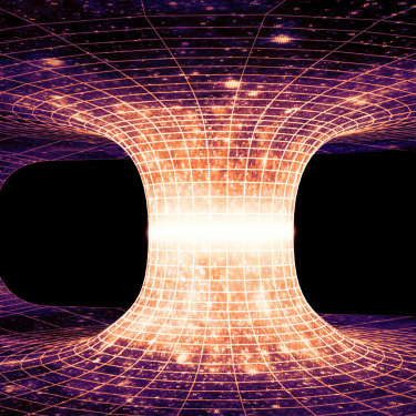A wormhole, also known as an Einstein-Rosen bridge, which is a hypothetical tunnel between two points in time and space.