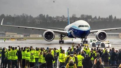Boeing celebrates first flight for massive new 777X jetliner