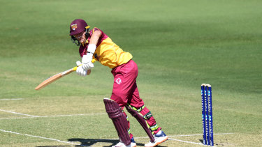 Marnus Labuschagne flicks one away en route to his 61 for Queensland at Allan Border Field.