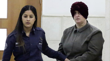 Malka Leifer (right) appears in a Jerusalem court in February 2018.