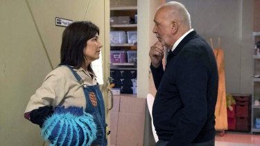 Catherine Keener as Deirdre and Frank Langella as Sebastian.