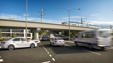The skyrail over Toorak Road will be up to nine metres high.