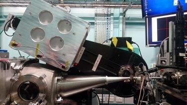 The experimental set-up in the Australian synchrotron.
