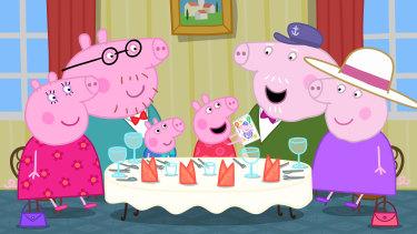 Peppa and her family celebrate Grandpa's birthday.