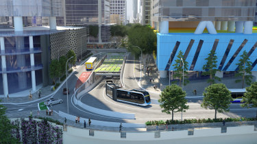 New concept images showing the planned entrance at North Quay for the Brisbane Metro Adelaide Street tunnel.