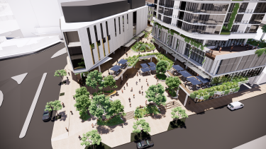 A planned plaza area off Sherwood Road in the Toowong proposal.