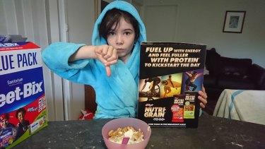 Daliah Lee, eight, of Canberra, took on Kellogg's for only depicting boys on its Nutri-Grain boxes. By contrast, she says Weet-Bix include girls and boys on its boxes.