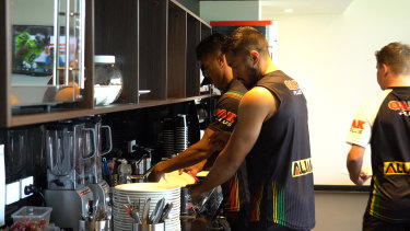 Penrith players washing their own dishes earlier in the season as the club attempted to wipe an entitlement culture creeping in at the Panthers.