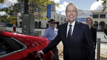 Opposition Leader Bill Shorten at an electric vehicle charging station in Canberra.