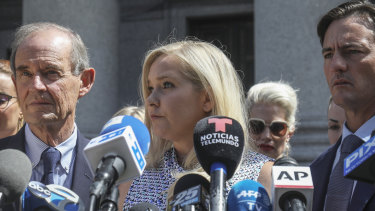 Virginia Roberts Giuffre outside a Manhattan court with her lawyer David Boies in August, 2019.