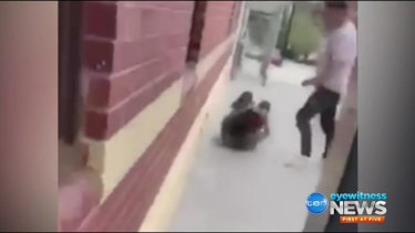 Footage of the second violent assault at Ringwood railway station.