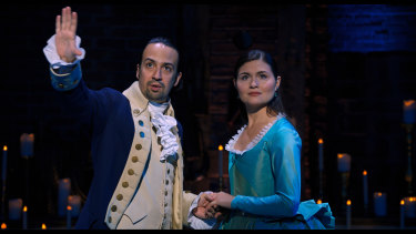 Lin-Manuel Miranda and Phillipa Soo in as Alexander and Eliza Hamilton.