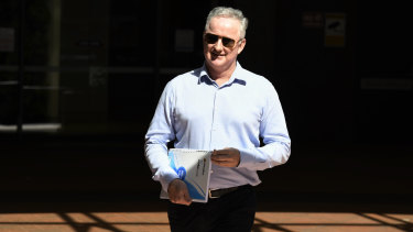 Hugh Marks on his way out of a meeting with Peter V'landys at Racing NSW offices in Sydney's CBD recently.