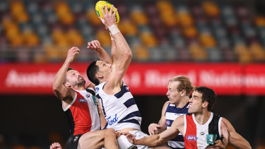 Geelong's Harry Taylor takes a mark in the Cats big win over St Kilda.