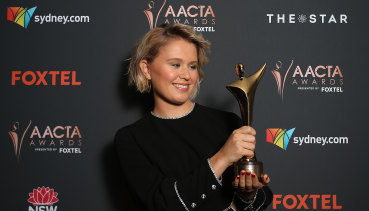 Eliza Scanlen with her AACTA Award for best actress for her role in Babyteeth.
