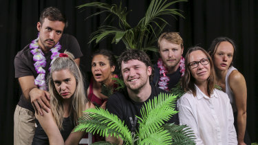 Director Declan Greene (centre) with cast members, from left, Patrick Durnan Silva, Michelle Brasier , Georgina Naidu, George Lingard, Belinda McClory and Emily Milledge.