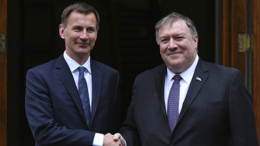 British Foreign Secretary Jeremy Hunt welcomes US Secretary of State Mike Pompeo to London earlier this month.