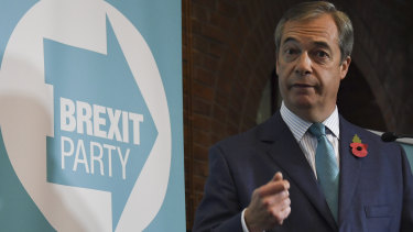 Brexit Party leader Nigel Farage launches his party's manifesto in London ahead of the upcoming election.
