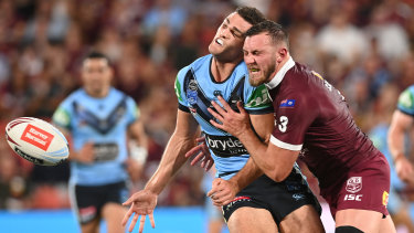 Kurt Capewell irons out his Penrith teammate Nathan Cleary during this year's Origin series.