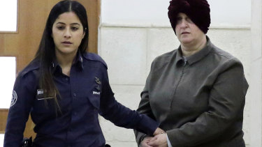 Malka Leifer (right) appears in a Jerusalem court in February 2018.
