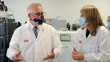 Prime Minister Scott Morrison meets CSL staff working on the AstraZeneca vaccine in Melbourne in March.