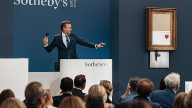 """Sotheby's Auction House, the auction for Banksy's """"Love is the Bin"""" takes place in London."""
