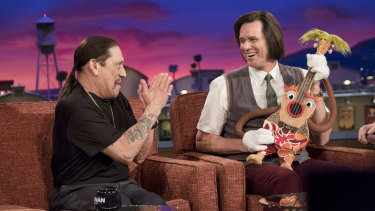 Jim Carrey as Jeff Pickles and Danny Trejo as himself in Kidding.