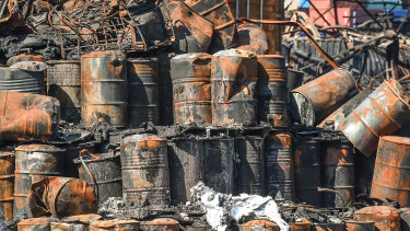Burnt-out chemical drums after the fire at the West Footscray factory in 2018.