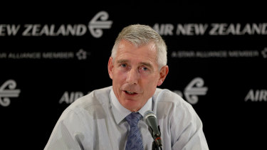 Air New Zealand chief Greg Foran forecast revenue for the next financial year to more than halve from recent levels.