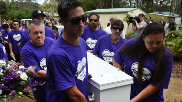 Thorburn, on the left and second from the front, carried Tialeigh's coffin at her funeral, shortly after he murdered her.